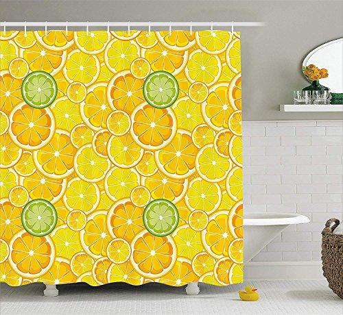 Gelb Dekor Duschvorhang Zitrone Orange Limette Zitrus Rundschnitt Kreise Groß und Klein Muster Stoff Badezimmer Dekor Set mit Gelb Weiß (Gelb Zitrone Duschvorhang)