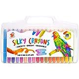 TBC The Best Crafts Crayon de Cire Enfant, 36 Couleurs Crayons Peinture Cire Lavables Non Toxique pour Tout-Petites Bébé Enfa
