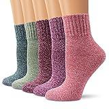 Wollesocken Damen Socken, Moliker Winter Socken 5 Paar atmungsaktiv warm weich bunte Farbe Premium Qualität klimaregulierende Wirkung (5004)