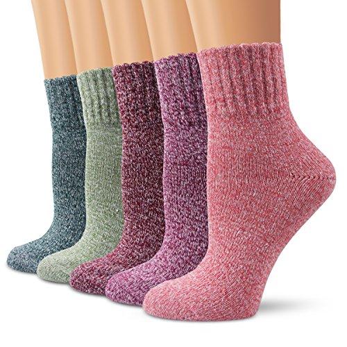 Wolle Damen-socken (Wollesocken Damen Socken, Moliker Winter Socken 5 Paar atmungsaktiv warm weich bunte Farbe Premium Qualität klimaregulierende Wirkung (5004))
