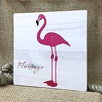 Hamburg auf Holz - Flamingo | 20x20 cm | Holzbild, Wandbild, Landhausstil, Shabby Chic, Vintage, Bilder, Motive, Hamburg, Geschenkidee, Souvenir, Deko