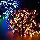 Aglaia Stringa LED Solare con Multi-Colore, 10M 100 LED Impermeabile con Sensore di Luce, Catena di Luci Solari da Esterno per Decorazioni Feste in Giardino, Balcone, Cortile, Prato, ecc. (LT-S11)