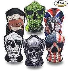 Super Things 6 x Premium multifunción Bandana   Braga     paño de manguera   Máscaras para moto bicicleta Esquí Paintball Gamer Carnaval Disfraz Calavera Máscara
