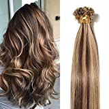 Extension Cheveux Naturel Keratine Cheveux a Chaud Pre Bonded U Tip Human Hair Extensions 50cm - 100 mèches 50g, #4+27 MARRON CHOCOLAT MECHE BLOND FONCE
