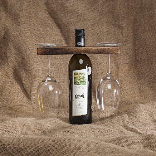 GoCraft Wein Flasche & Glas Holder | Handmade Antik Holz Ständer für Wein für Zwei Gläser & Flasche (Flaschen Glas Antike)