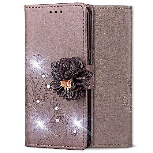 Preisvergleich Produktbild Shinyzone Flip Brieftasche Hülle für LG G7 / LG G7 ThinQ, Geprägt PU Leder Ständer Handyhülle mit Kartenfächer, Handgefertigt Funkeln Diamant mit 3D Blumen Magnetverschluss Schutzhülle, Grau