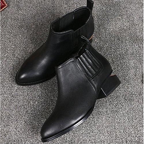 HSXZ Scarpe donna vacchetta inverno cadono Bootie stivali Chunky tallone punta Babbucce/stivaletti di abbigliamento casual nero Black