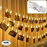 LED Lichterketten für Foto,Photo Clips LED Lichterkette KUXIEN LED Foto Clips Lichterketten,Batteriebetriebene Stimmungsbeleuchtung Dekoration,40 LED Lichterketten für Hängendes Foto, Party, Weihnacht
