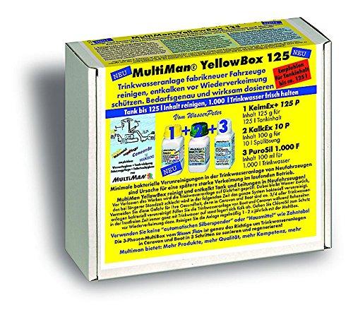 MultiMan YellowBox Wassertankreinigung bei Neufahrzeugen (Beseitigung Kunststoffgeschmack und Schutz vor Verkeimung), Tankgröße:Tanks ab 10 -125 l