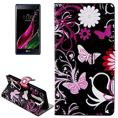 JIALUN- Telefonschutz Fall Für LG Klasse / LG Zero Schmetterlinge Liebe Blumen Muster Horizontale Flip Leder Tasche mit Card Slots und Halter und kann unterstützen Langlebig und modisch ( SKU : S-MLC-8765A ) (Klasse Card Wallet)