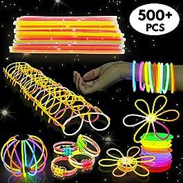 543 Pack – 250 Glow Sticks, Bastoncini Luminosi Fluorescenti, 293 Connettori – Braccialetti, Collane, Occhiali, Fiori – Sicuro e Non Tossico| Bambini, Compleanni, Feste al Neon, Carnevale, Halloween.
