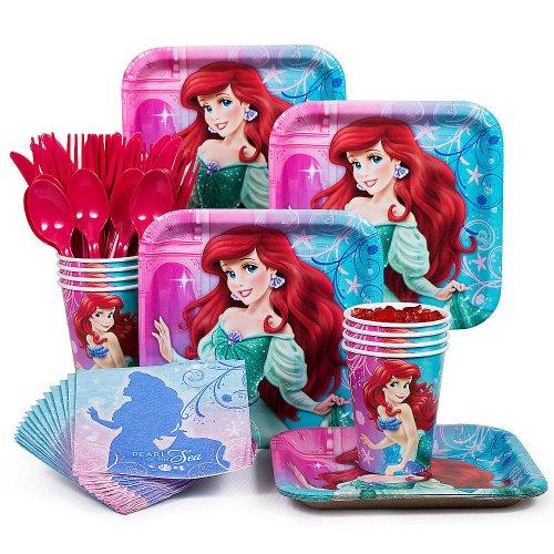 BBKIT284 Little Mermaid Standard Birthday Party Tableware Kit by Costume SuperCenter ()