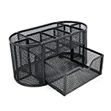 Decdeal 9 Storage Compartments Multi-Functional Mesh Desk Organizer Pen Holder Stationery Storage Container Box Collection Office School Supplies Caddy