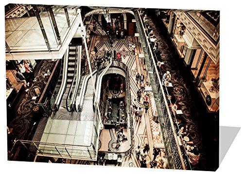 Shopping Mall, Gemälde Effekt, schönes und hochwertiges Leinwandbild zum Aufhängen in XXL - 60cm x 40cm, echter Holzrahmen, effektiver Pigmentdruck, modernes Design für Ihr Büro oder Zimmer