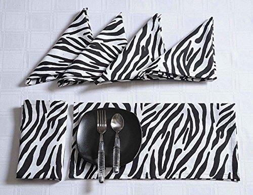 (Moderne Drucken Baumwolle Abendessen StoffServietten Weihnachten 50x50 cm - Satz von 4 Premium Rosenmuster Tischwäschen für das Esszimmer - Schwarzweiss-Zebra)