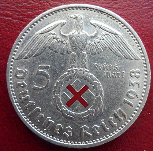 Preisvergleich Produktbild Silbermünze 5 Reichsmark 1938 J Drittes Reich - Paul von Hindenburg - Münze