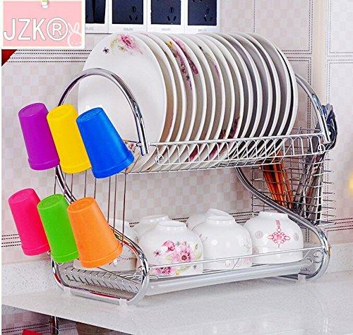 JZK® Scolapiatti portaoggette e supporti in acciaio inox con vassoio in plastica per piatti, ciotole, tazze, cucchiai, coltelli, utensili, regalo perfetto per amici e famiglie