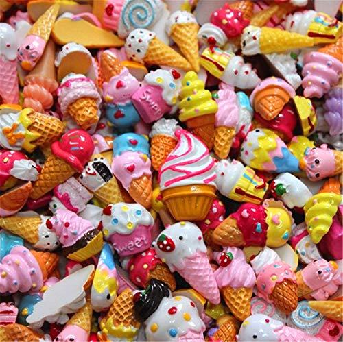 sortiert 30 Stück Cute Candy Perlen Fruit Dessert Eis Kunstharz Charms Scheiben Flache Tasten für Handwerk Zubehör Scrapbooking Telefon Fall Decor, ice cream, 10mm-25mm (Cup Cake Kostüm)