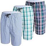 JINSHI Pantalones Cortos de cuadros para Hombres Paquete de 3 Color Claro Talla Large