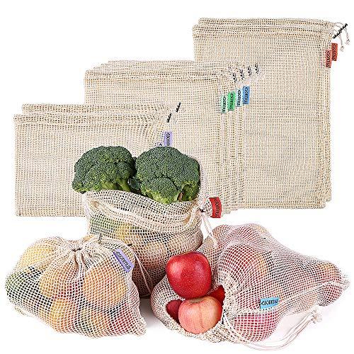 esonmus 8pcs Bolsas de la Compra Reutilizables Bolsas Reutilizables de Productos de Malla Bolsas De Compras para Juguetes De Verduras De Frutas Lavable 3 Tamaños