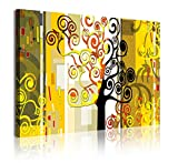 DEKOARTE modernes Wandbild auf Leinwand montiert Rack Stil Abstrakt mit Baum des Lebens, Stoff, Mehrfarbig, 120x 3x 80cm