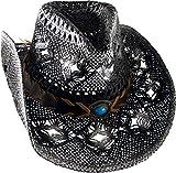 Cowboyhut Strohhut Westernhut Hut mit Hutband schwarz/weiß geflammt Gr. 52-56