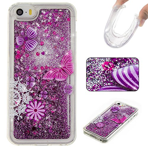 ARTLU® Coque pour iPhone 5s, iPhone 5s Coque Etui, iPhone 5 Plastique Coque Liquide Etui, iPhone 5s Plastic Case TPU Cover étui de protection Housse Cristal dur Plastique Cover étui de Transparent Cla A8