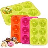 MEISO Coque en silicone en forme de donut Moules Lot de 3 6 Cavités Safe machine à plaque de cuisson anti-adhésif résistant à