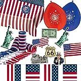 128-teiliges Dekoset * Amerika * für eine USA-Party // mit Tischdecke + Wimpelkette + Flaggen + Luftballons + Luftschlangen + Konfetti // Deko Dekoration Set Mottoparty