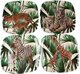 EDGO - Juego de 4 Platos de melamina para jardín, diseño de Tigre, Leopardo, Jirafa, Cebra