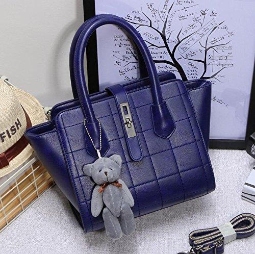 HQYSS Damen-handtaschen Frauen PU-lederner einfacher wilder Schulter-Kurier-Handtaschen-Normallack-große Kapazität Crossbody Beutel-Einkaufstasche deep blue (bear pendant)