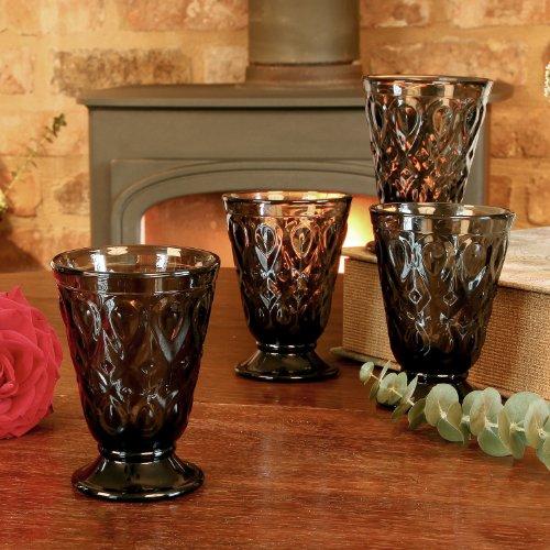 Lot de 4 verres à pied à pied Fumé Gris Gobelet en verre – d'excellente qualité, au lave-vaisselle et au micro-ondes 23 cl