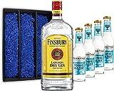 Gin Tonic Geschenkset - Finsbury London Dry Gin 70cl (37,5% Vol) + 4x Fever Tree Mediterranean Tonic Water 200ml + Geschenkverpackung