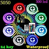 #8: amiciKart® High Quality Waterproof 5050 RGB LED Strip Light With Power Supply and Controller