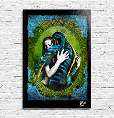 ssers (The Shape of Water - Guillermo Del Toro) - Original Gerahmt Fine Art Malerei, Pop-Art, Poster, Leinwand, Artwork, Film Plakat, Leinwanddruck (Halloween Romance-bücher)