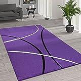 Paco Home Kurzflor Wohnzimmer Teppich Trendige Moderne Linien Muster In Lila Schwarz Weiß, Grösse:160x230 cm