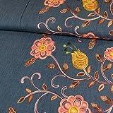 Jeansstoff einseitige Bordüre Blumen Stickerei rosa