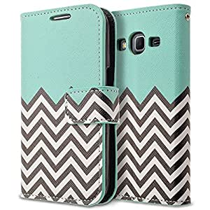 Galaxy Core Prime G360 Case, Galaxy Prevail LTE Case, RANZ Stylish Design Deluxe PU Leather Folio Flip Book Wallet Pouch Case Cover (Teal Waves) For Samsung Galaxy Core Prime G360 / Samsung Galaxy Prevail LTE