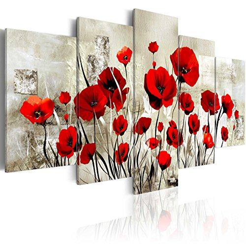 Cuadro en Lienzo 200x100 cm - 3 tres colores a elegir - 5 Partes - Formato Grande - Impresion en calidad fotografica - Cuadro en lienzo tejido-no tejido - flores amapola b-A-0001-b-o 200x100 cm B&D XXL