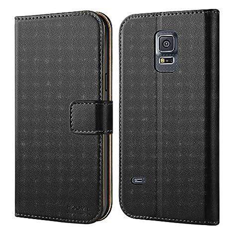 Galaxy S5 Mini Hülle,HOOMIL Premium Handy Schutzhülle für Samsung Galaxy S5 Mini Hülle Leder Wallet Tasche Flip Brieftasche Etui Schale (H3010,