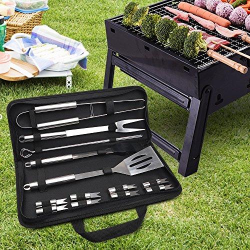 613pNOetQAL - Chenci Grillbesteck BBQ Grillzubehör 16 Set, Barbecue Grillen Werkzeuge Koffer aus Edelstahl mit Wärmeisolierende Griff Ideal für Outdoor Familien Garten Party