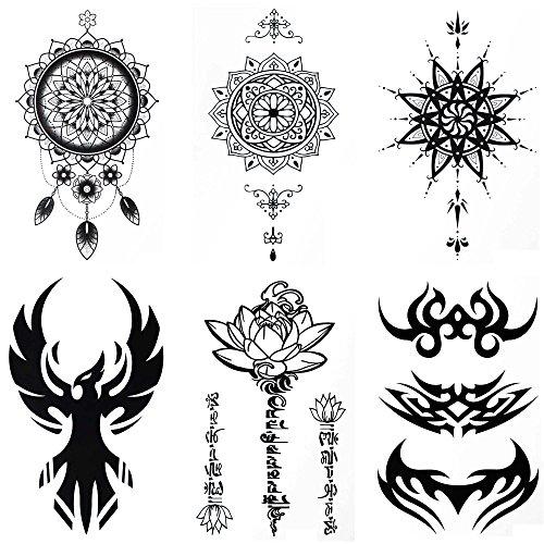 COKOHAPPY Temporäre Tattoo 6 Verschiedene Blätter Sanskrit Lotusblatt Traumfänger Phoenix ( Ein Satz ) für Herren (Kostüm Cosplay Phoenix)