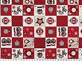 Patch Deko-Weihnachtsstoff, Baumwolldruck, rot-weiß, 140cm