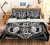 3d Noir foncé Tête de mort 79Parure de lit Taie d'oreiller Parure de lit avec...