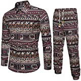 VEMOW Sommer Herbst Winter Mens Casual Langarm Shirt Business Täglich Sport Dating Coole Hübsch Slim Fit Shirt Print Bluse Top + Hosen(Mehrfarbig 2, EU-48/CN-XL)