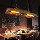 Suspension 40W Salle À Manger Pendante Lumière Lampe Vintage E27 Rétro Loft Plafonnier Lustre Industriel En Métal Hauteur Rég