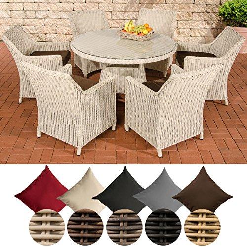CLP Polyrattan-Sitzgruppe GINOSA inklusive Polsterauflagen | Garten-Set bestehend aus einem runden Esstisch mit einer pflegeleichten Tischplatte aus Glas und sechs Stühlen | In verschiedenen Farben erhältlich Rattan Farbe perlweiß, Bezugfarbe: Terrabraun