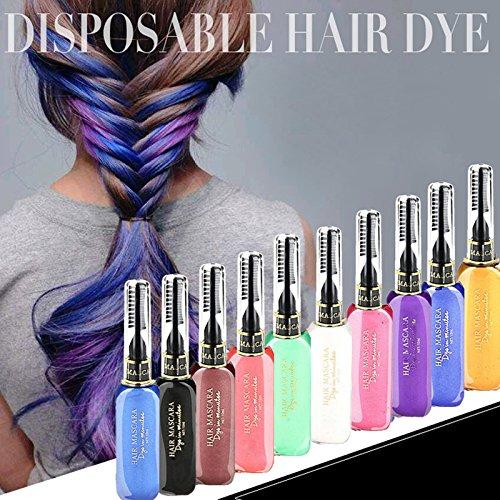 Floridivy Einweg Einmaliger Bunte Haarfärbung Dye Stock-Feder-Bleistift mit Bürsten-Temporary Ungiftiger Mascara Creme