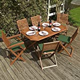 Wooden Garden Furniture Set - 6 Seater Folding Dining Set - This 7 Piece Table & Chairs Set Is The Perfect Outdoor Living Addition To Your Patio, Made