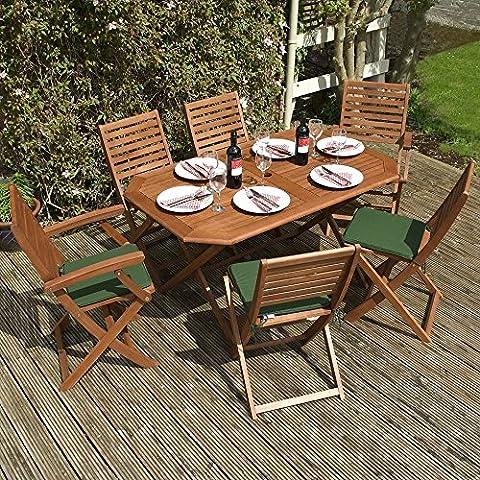 Holz Garten Möbel Set–6-Sitzer faltbar Esstisch Set–Diese 7-teiliges Set Tisch und Stühle, ist die perfekte Outdoor Living Ergänzung zu ihrer Terrasse, aus FSC-zertifiziertem Eukalyptus Hartholz * inkl. 6grün Sitzkissen *